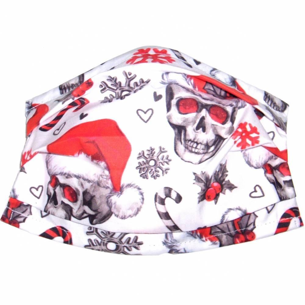 """MuNaske - Behelfs-Mund-Nase-Maske """"Santa Skulls"""", Größe M, genäht aus Baumwollstoff, mit Nasenbügel - Waschbar - Behelfsmaske - Alltagsmaske Bild 1"""