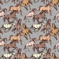 16,50EUR/m French Terry Xaver Pferde Herde Bild 1
