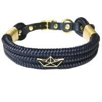 Hundehalsband verstellbar blau gold, Beschläge Edelstahl mit Leder und Schnalle Bild 1