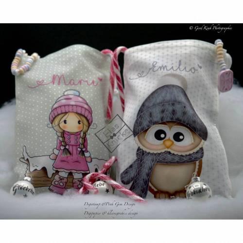 Lichtbeutel Geschenksäckchen Wintermädchen mit Name