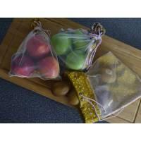 Obstbeutel-Set, Einkaufsbeutel Blätter/Gelb-Rosa