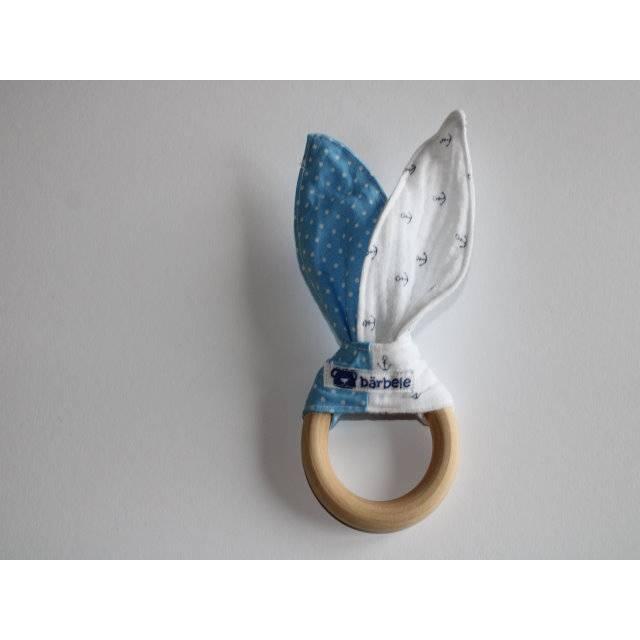 Beißring-Hellblau Pünktchen & Musselin mit Anker Bild 1