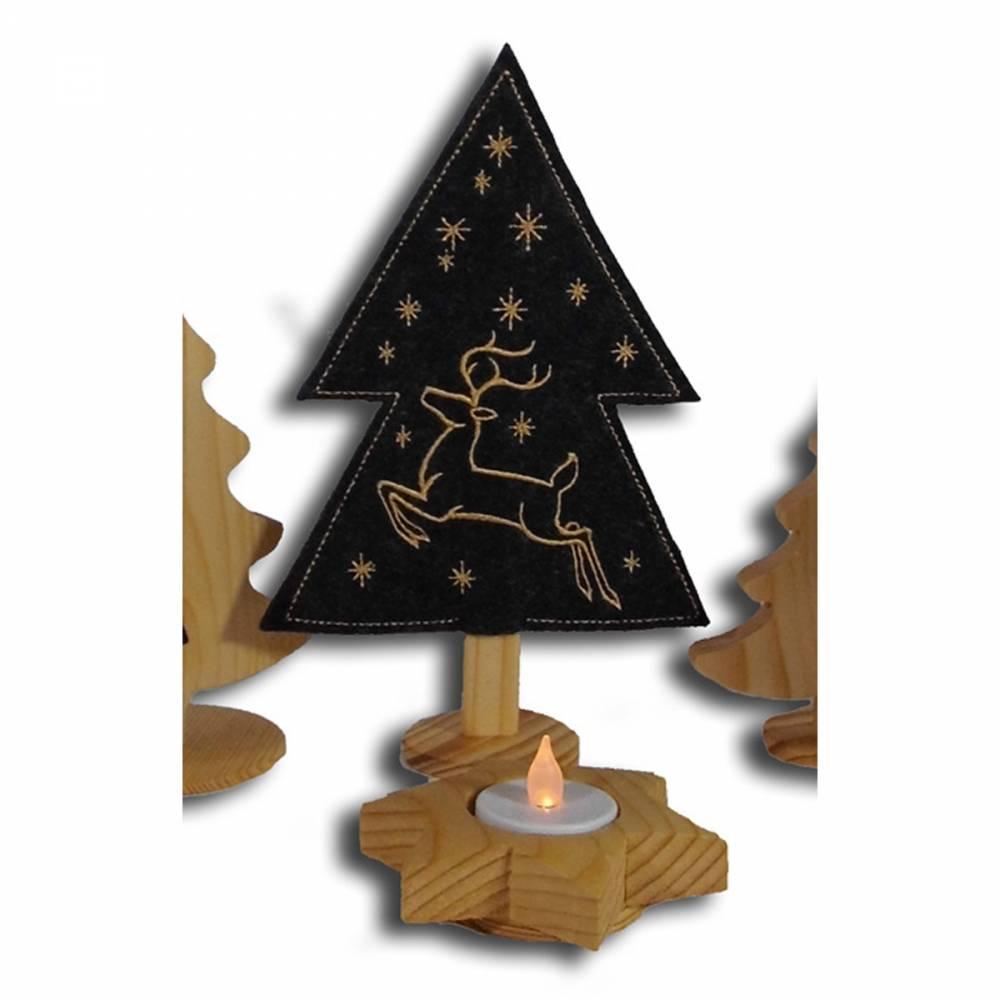 Weihnachtsdeko X-Mas bestickte Tannenbäumchen auf schwarzem Filz mit Holzfuß weihnachtliche Dekoration Bild 1