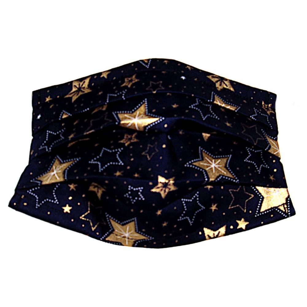 """MuNaske - Behelfs-Mund-Nase-Maske """"Sterne 02"""", Größe M, genäht aus Baumwollstoff, mit Nasenbügel - Waschbar - Behelfsmaske - Alltagsmaske Bild 1"""