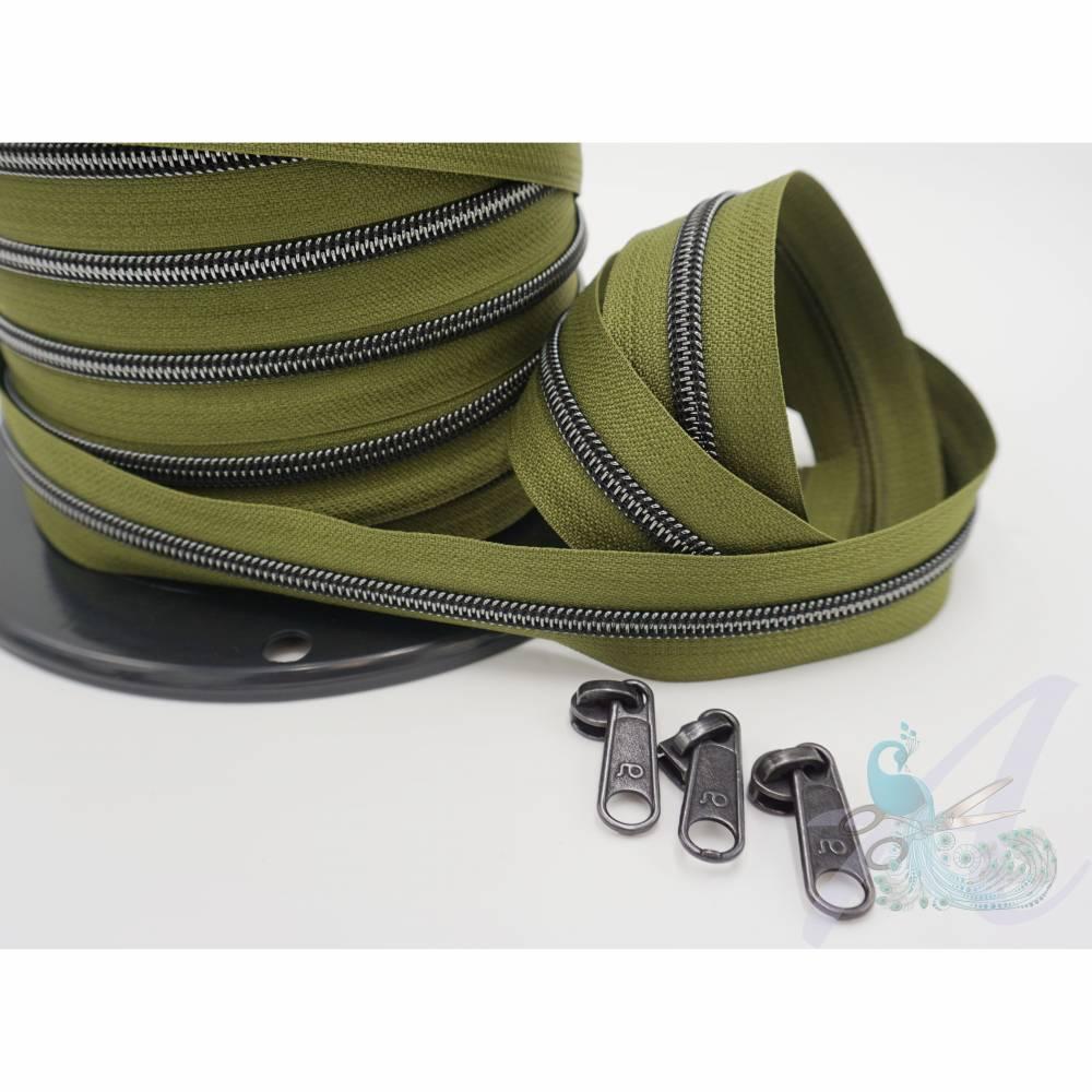 1m endlos Reißverschluss - breit oliv - Titan Bild 1