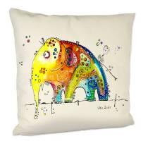 Kissen mit Elefant, naturfarben Leinenoptik, 40x40 cm mit Innenkissen Bild 1