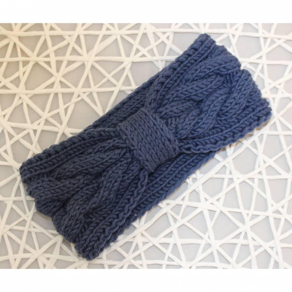 Damenstirnband blau / Stirnband gestrickt Bild 1