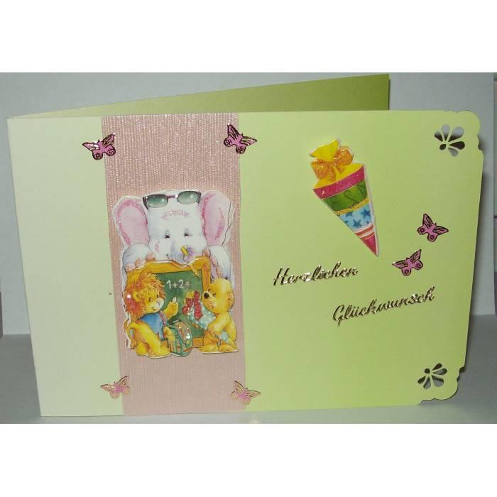 Grußkarte zum Schulanfang - Einschulung in 3-D - Glückwunschkarte Bild 1