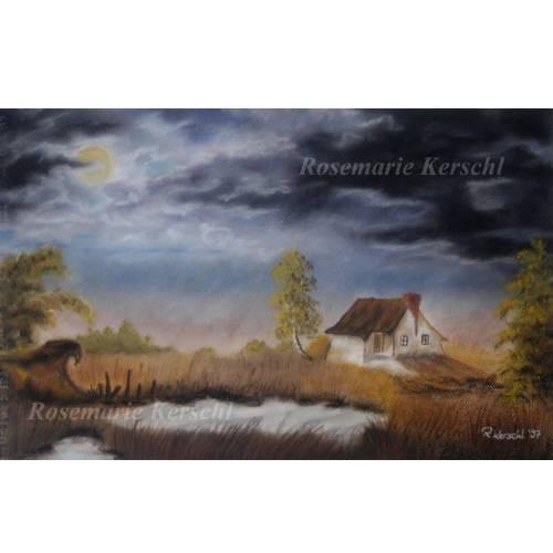 Gewitterstimmung im Herbst Pastellkreidebild handgemalte Landschaft 43 x 30 cm Hochformat