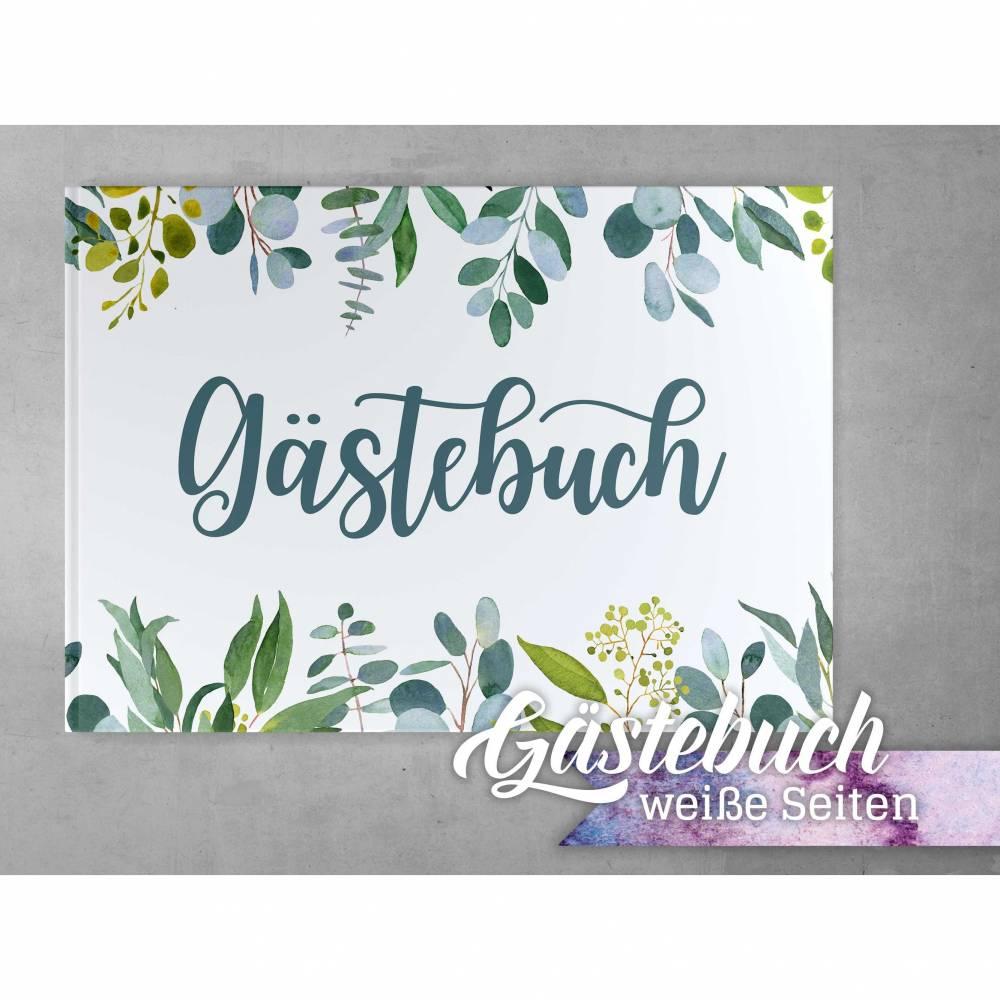 Gästebuch Hochzeit Eukalyptus Green Blanko Greenery Leaves weiße Seiten Bild 1