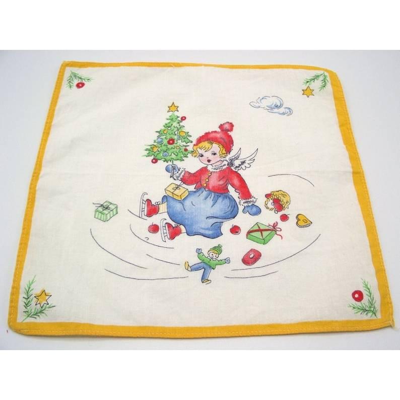 Vintage Taschentuch Kinder Christkind Engel Weihnachten Motiv Mädchen Christbaum weihnachtlich Tuch Geschenk Flügel Angel Schlittschuhen  Bild 1