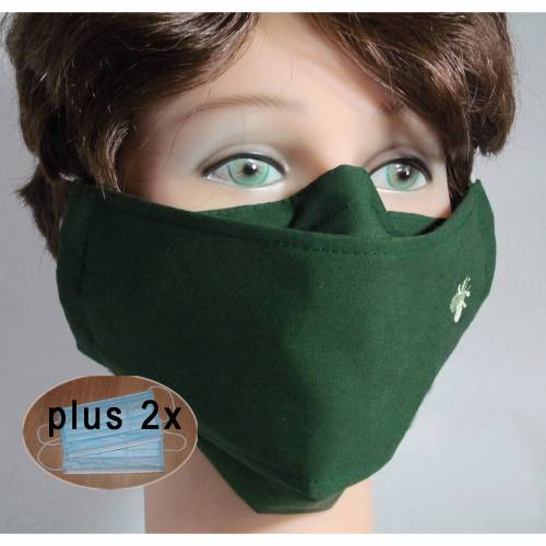 Behelfsmasken uni dunkelgrün waschbare Alltagsmasken Communitymasken Brillenträger Nasenbügel Damen Herren Kinder