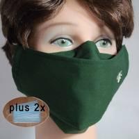 Behelfsmasken uni dunkelgrün waschbare Alltagsmasken Communitymasken Brillenträger Nasenbügel Damen Herren Kinder Bild 1