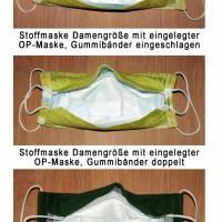 Behelfsmasken uni dunkelgrün waschbare Alltagsmasken Communitymasken Brillenträger Nasenbügel Damen Herren Kinder Bild 6