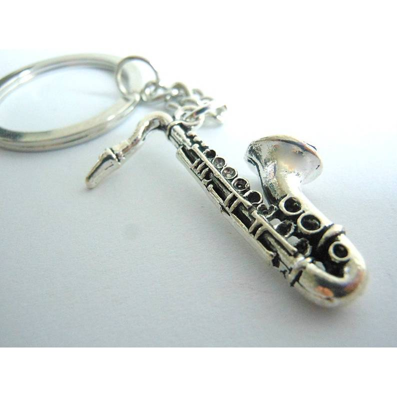 Saxophon versilbert   Musik  Schlüsselanhänger,  Bild 1