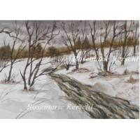Aquarell Winter handgemalte Landschaft 24 x 19 cm in Querformat Bild 1