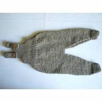 Babyhose naturbelassene Wolle Gr. 62/68 grau braun Latzhose Strampler Pumphose Bild 1