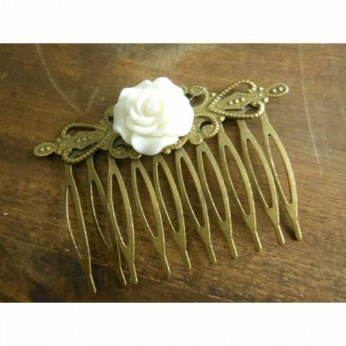 Bronze Haarkamm mit Blüte  Vintage RenaissanceRose