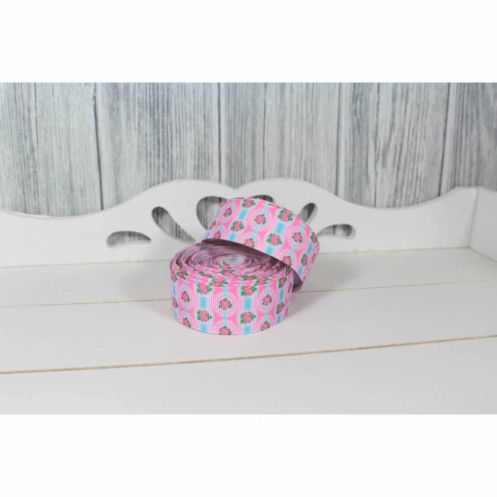 Ripsband Röschen Rosa Blau 25mm Ribbon Band Borte Nähen Basteln Dekorieren Verzieren Mädchen Bild 1