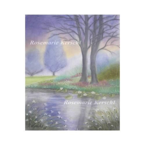 Traumlandschaft Pastellkreidebild handgemalte Landschaft 50 x 35 cm Hochformat