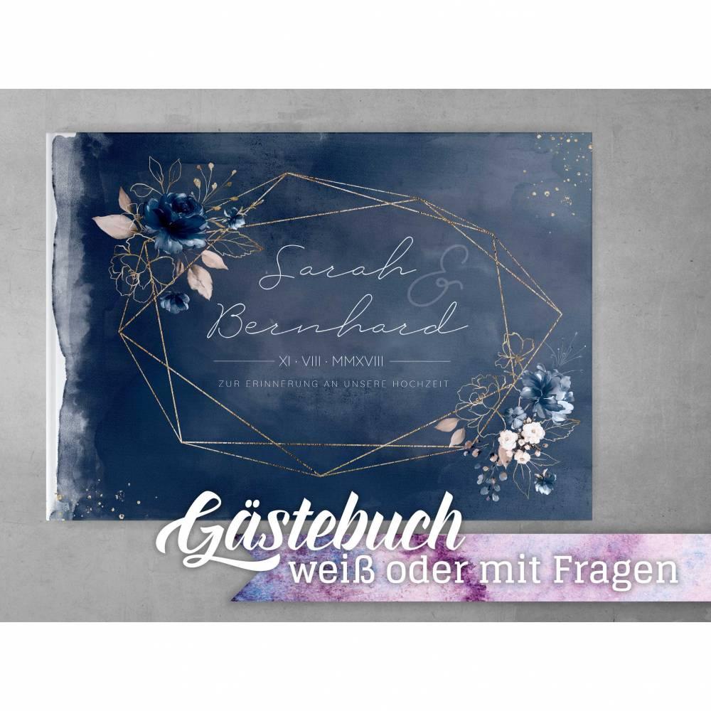 Gästebuch Hochzeit mit Fragen weiße Seiten Aquarell Blumen Gold Navy personalisierbar Dark Blue Bild 1