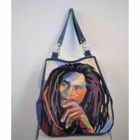 XXL Shopper Bob Echtleder-/Textil-Mix Bild 1