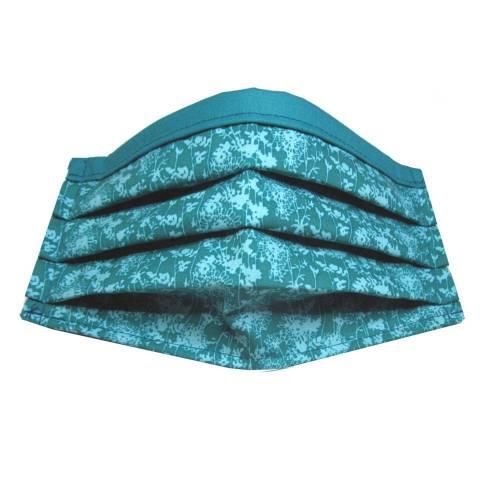 Behelfs-Mund-Nase-Maske, Gr. M *Eisblumen* Behelfsmaske, Mundschutz,Wintermaske Baumwollstoff mit Nasenbügel waschbar 60°