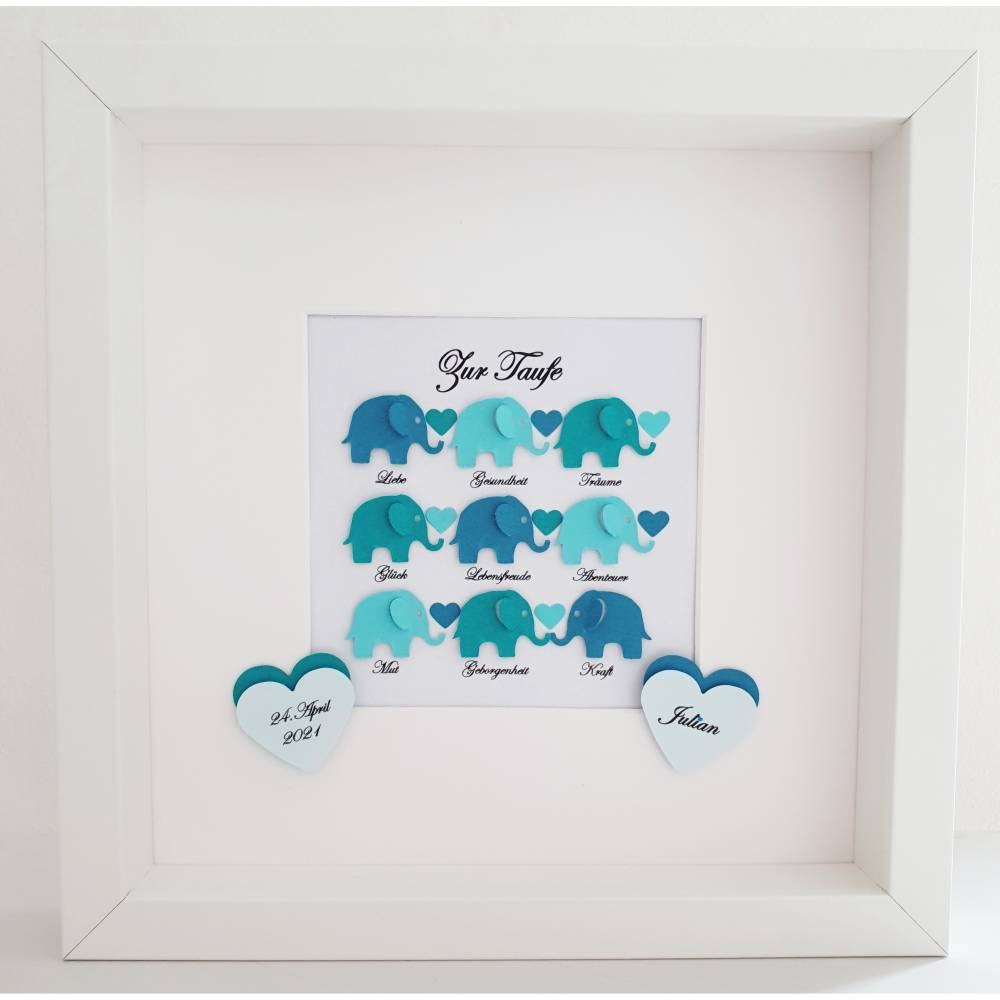Taufgeschenk ,personalisiertes Geschenk Baby, Taufe, Geburt, Junge, Elefanten mit Wünschen Bild 1