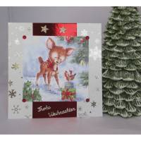Weihnachtskarte Bambi mit Päckchen Bild 1