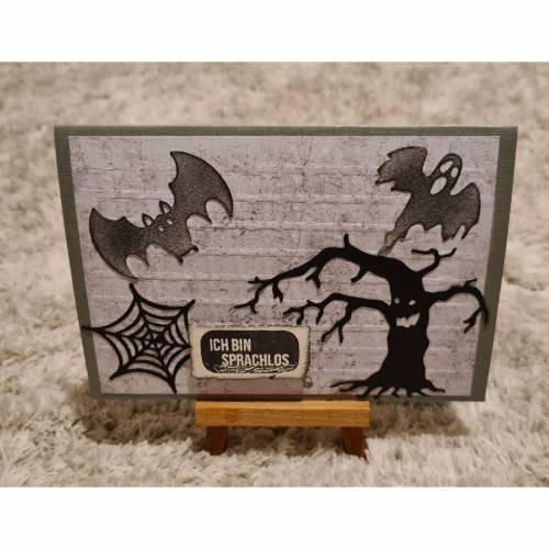 """Halloween """" Ich bin Sprachlos """" Gratulationskarte , Fledermaus , Geist , Spinnennetz"""