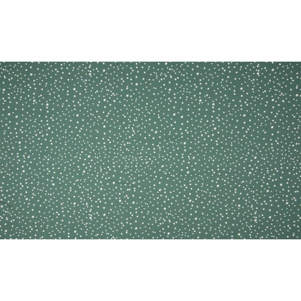 11,90EUR/m Baumwolljersey Dots unregelmäßige weiße Punkte auf dusty green / rauch grün Bild 1