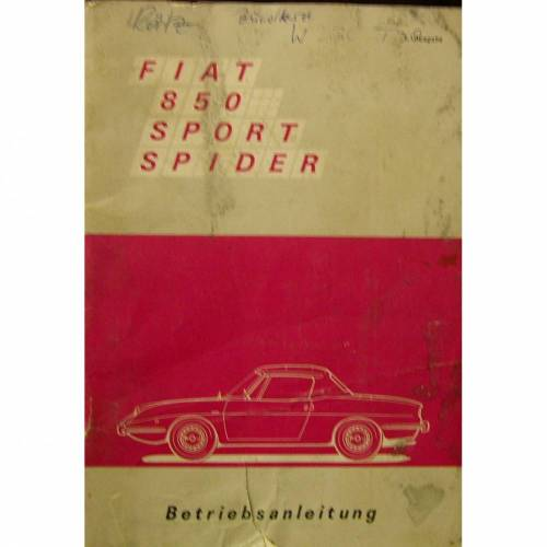 Betriebsanleitung Fiat 850 Sport Spider ca. 1969,