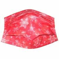"""MuNaske - Behelfs-Mund-Nase-Maske """"Flocken Rot"""", Größe M, genäht aus Baumwollstoff, mit Nasenbügel - Waschbar - Behelfsmaske - Alltagsmaske Bild 1"""