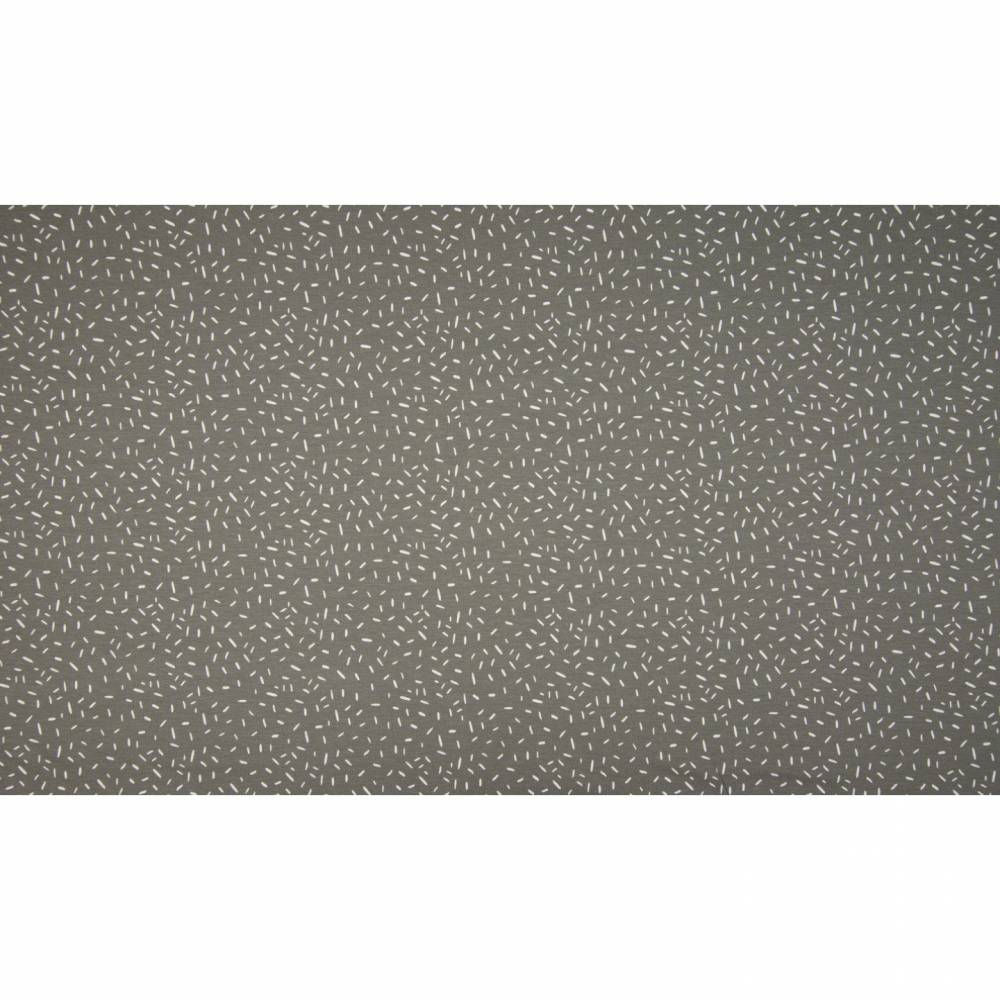 11,90EUR/m Baumwolljersey Konfetti weiße unregelmäßige Striche auf grau Bild 1
