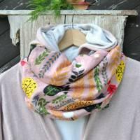 ein LOOP   Rosa/ bunt gemustert aus Baumwolle und Ramie, Geschenke, nachhaltig, Baumwolle, Zero Waste, keinplastik, vegan Bild 1