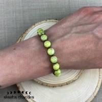 Zitronen Chrysopras Perlen Armband - Makramee Waldelfen Schmuck - Boho und Hippie - Yoga und Meditation Bild 1