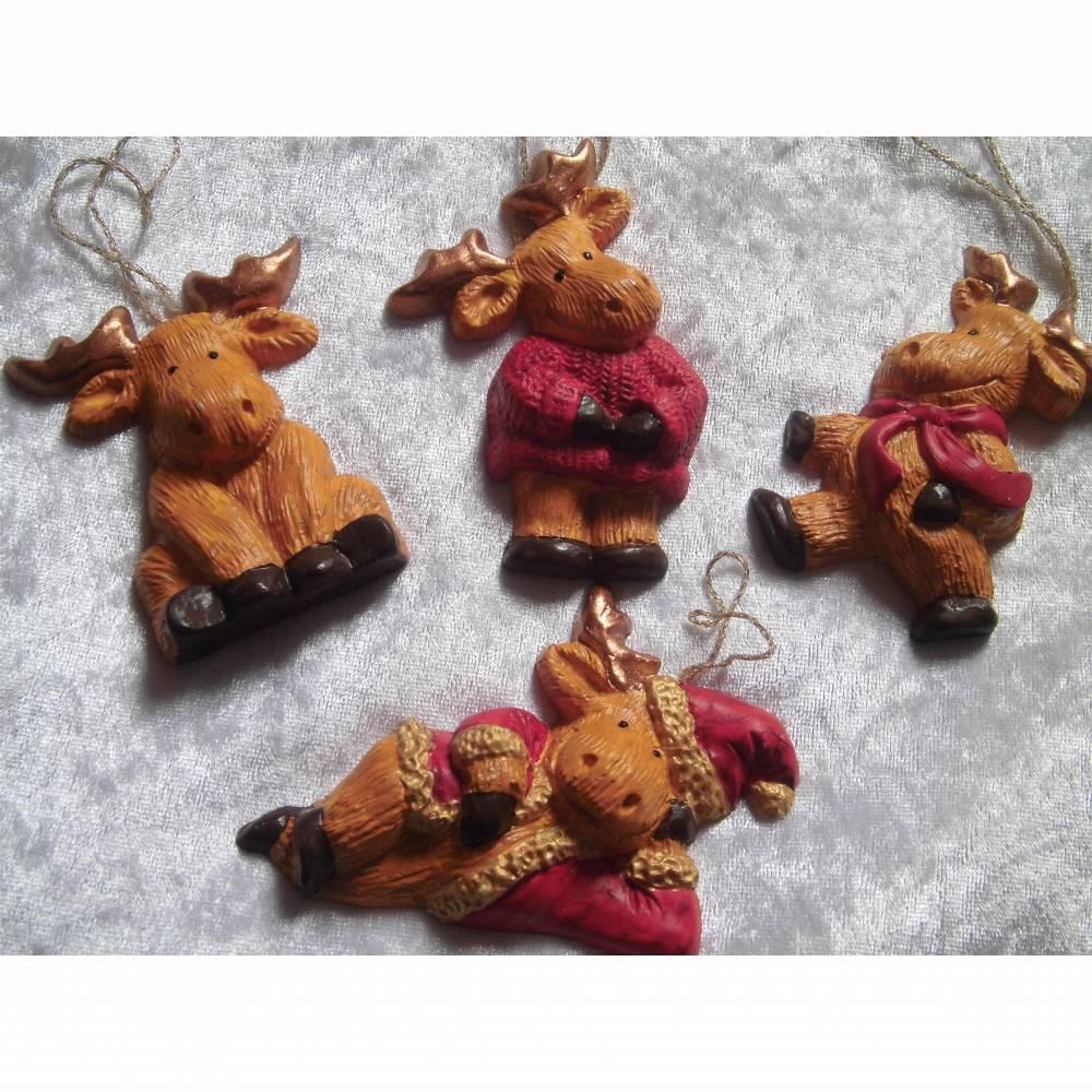 Baumschmuck , Elch, Christbaumschmuck, Weihnachstdeko, Weihnachten,Adventsdeko, Geschenkanhänger Bild 1