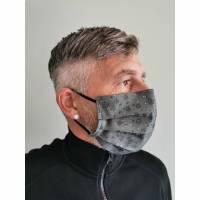 Business grau schwarz gemustert Bäume, Gesichtsmaske, Behelfsmaske, Alltagsmaske, Communitymaske, Stoffmaske, Behelfs-Mund-Nase-Maske, Maske mit Nasenbügel für Mund und Nase Bild 1