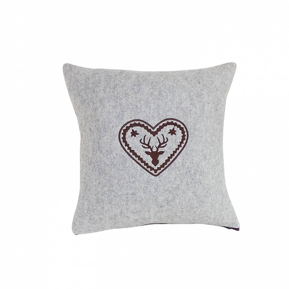 Wollfilz - Sofa Kissen hellgrau-meliert, bestickt Bild 1