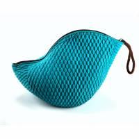 Badekappentasche Petrol/Dunkelbraun mit Reissverschluss und Handschlaufe Bild 1