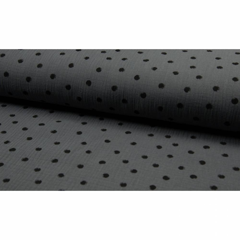 8,50EUR/m Musselin Punkte auf dunkelgrau Bild 1
