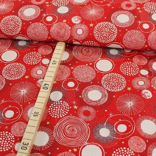 Baumwolle Weihnachten Feuerwerk glitzer Sterne auf rot