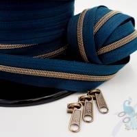 1m endlos Reißverschluss inkl. 3 Zippern - breit metallisiert retro petrol - altmessing Bild 1