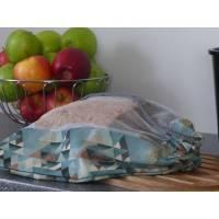Brotbeutel, Einkaufsbeutel, großer Obstbeutel Dreiecke/Blau-Braun Bild 1