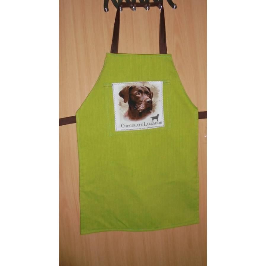 Kinderschürze Werkenschürze mit Tasche und Motiv chocolate Labrador - Geschenkidee zum Schulanfang Bild 1