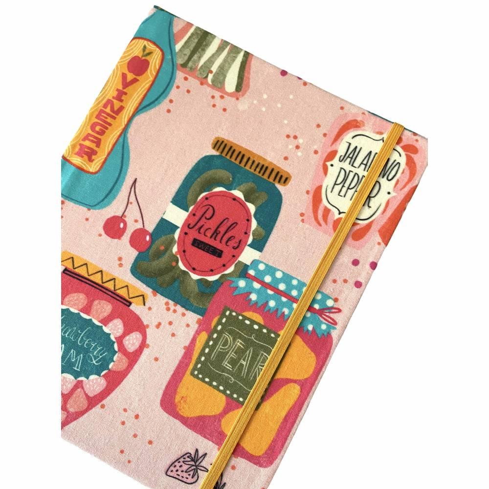 """Notizbuch Rezeptbuch """"Jars&Bottles"""" ähnlich A5 17,5 x 23 cm Hardcover stoffbezogen Einmachen Einmachgläser Küche Kochen Hobbykoch Rezepte Geschenk Geschenkidee Bild 1"""