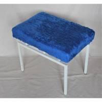 Klapphocker mit blauem Puschelbezug 60er Jahre Bild 1
