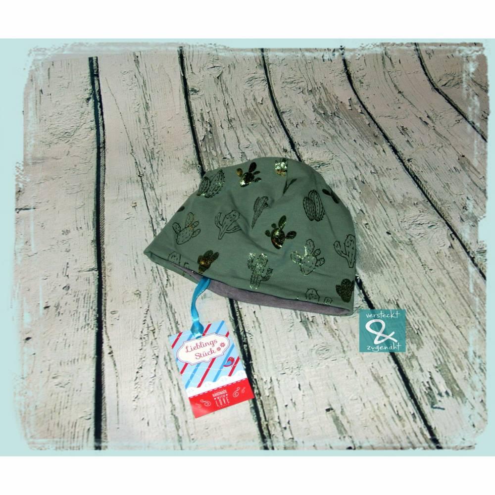 """Mütze, Wendebeanie """"Kaktusse"""" KU 47-49cm Bild 1"""