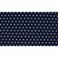 7,50EUR/m Baumwoll-Webware Sterne weiß auf navy blau Bild 1