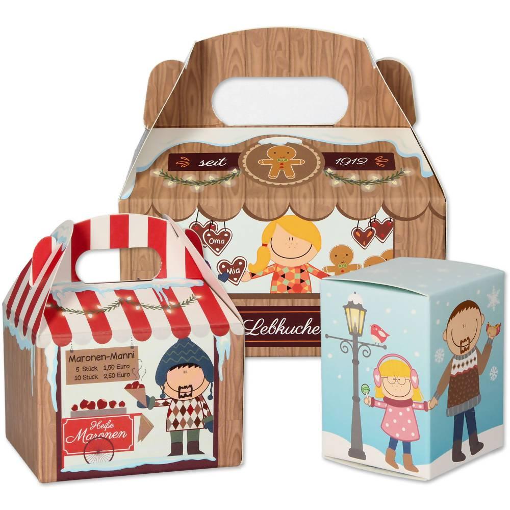 Weihnachtsmarkt Adventskalender zum Befüllen - Weihnachtskalender mit 24 Schachteln und Adventskalenderzahlen - wiederve Bild 1